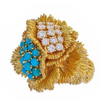 Diamond & Turquoise Urchin Ring