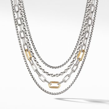 Four Row Mixed Chain Bib Necklace with 18K Yellow Gold