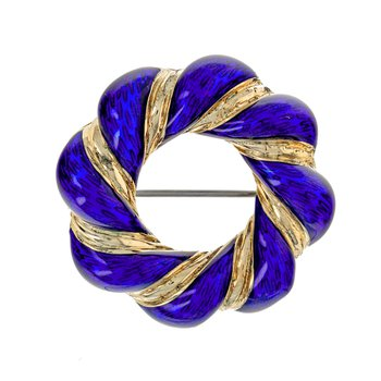 Enamel & Gold Circle Pin