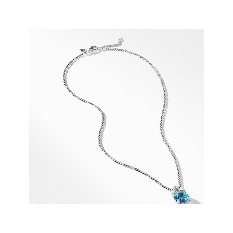 David Yurman Chatelaine Pendant Necklace with Blue Topaz and Diamonds, 11mm