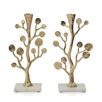 Botanical Leaf Gold Candlesticks