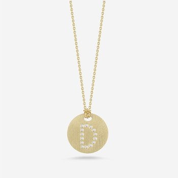 """Disc Pendant with Diamond Intial """"D"""""""