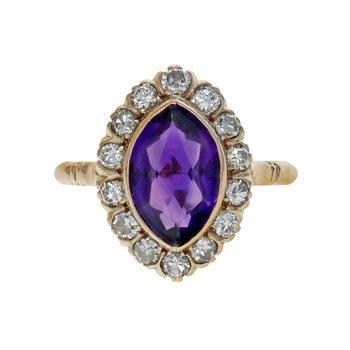 Amethyst & Diamond Halo Ring