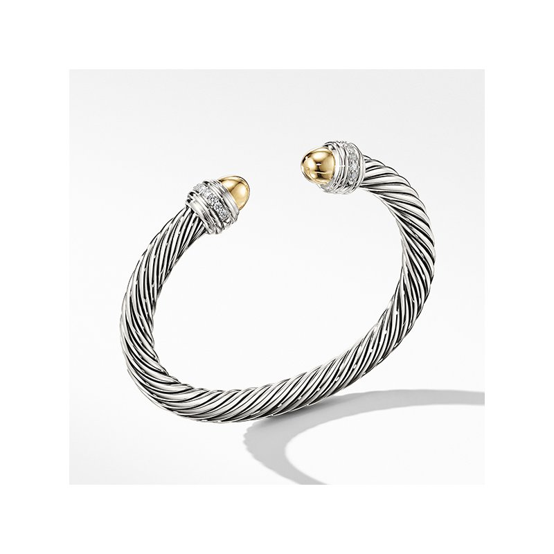 David Yurman Cable Bracelet with Gold Dome and Diamonds