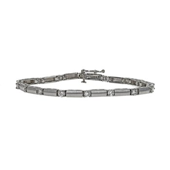 Satin Finish Diamond Tennis Bracelet