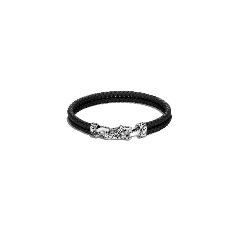 John Hardy Asli Classic Chain Link Station Bracelet in Leather
