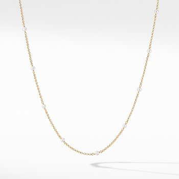 Cable Collectibles Bead and Chain Necklace in 18K Yellow Gold with Pearls