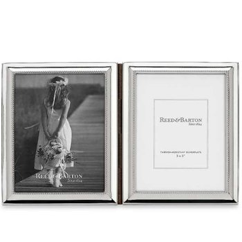 "Capri Silverplated 3"" x 5"" Double Photo Frame"