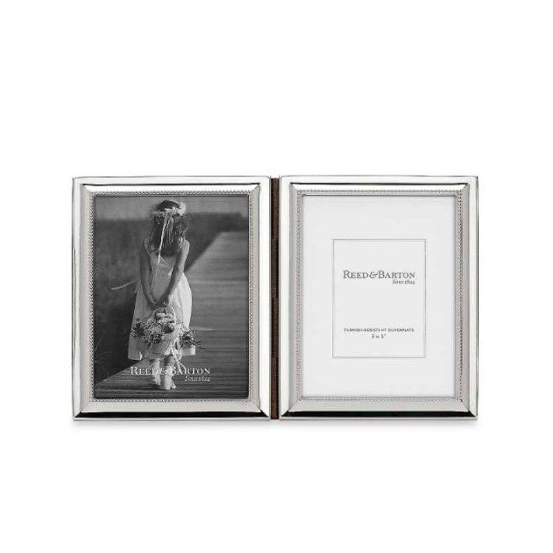 "Reed & Barton Capri Silverplated 3"" x 5"" Double Photo Frame"
