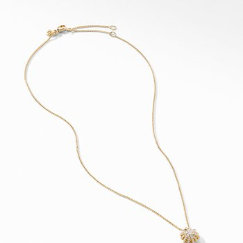 Starbust Pendant Necklace in 18K Yellow Gold with Pave Diamonds