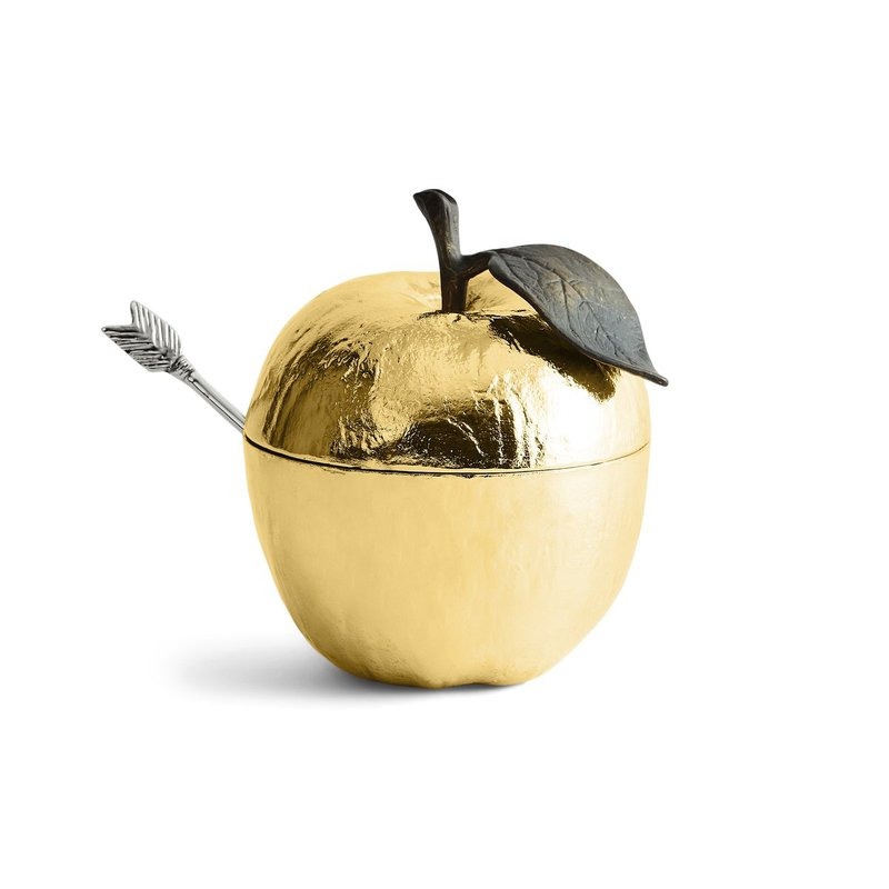 Michael Aram Apple Honey Pot w/ Spoon Goldtone