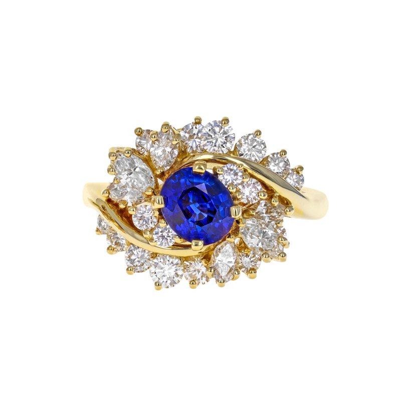 Estate Radcliffe Diamond & Sapphire Cluster Ring