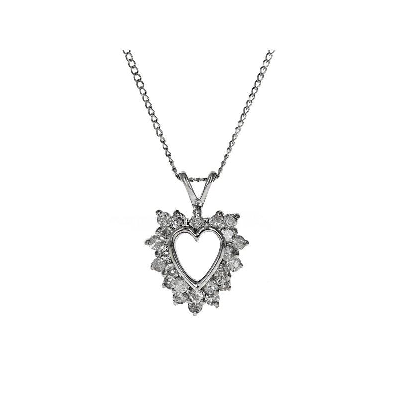Estate Radcliffe Diamond Open Heart Pendant Necklace