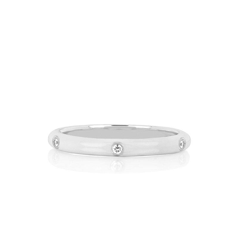 EF Collection 3 Diamond White Enamel Stack Ring