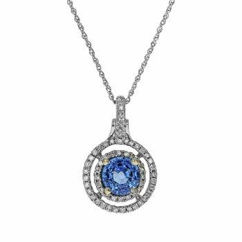 Diamond & Tanzanite Circle Pendant Necklace