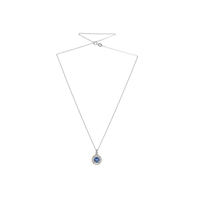 Estate Radcliffe Diamond & Tanzanite Circle Pendant Necklace