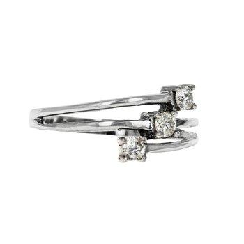Three Band Diamond Bypass Ring