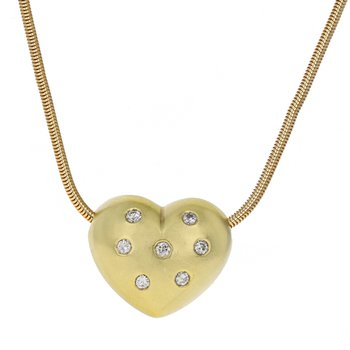Puffed Diamond Heart Pendant Necklace