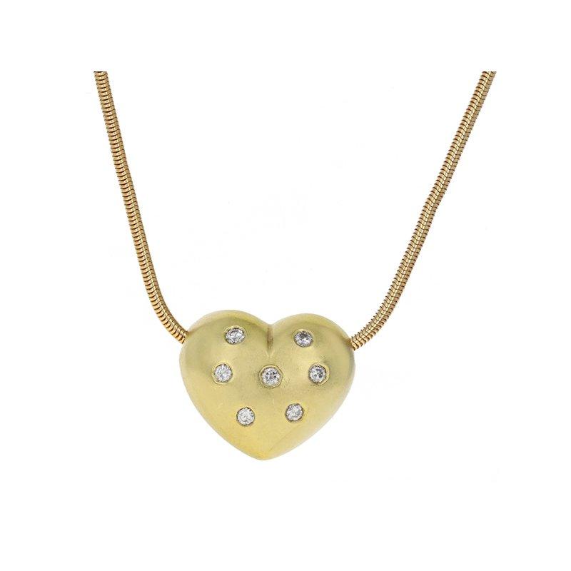 Estate Radcliffe Puffed Diamond Heart Pendant Necklace
