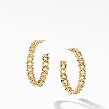 Belmont Curb Link Medium Hoop Earrings in 18K Yellow Gold