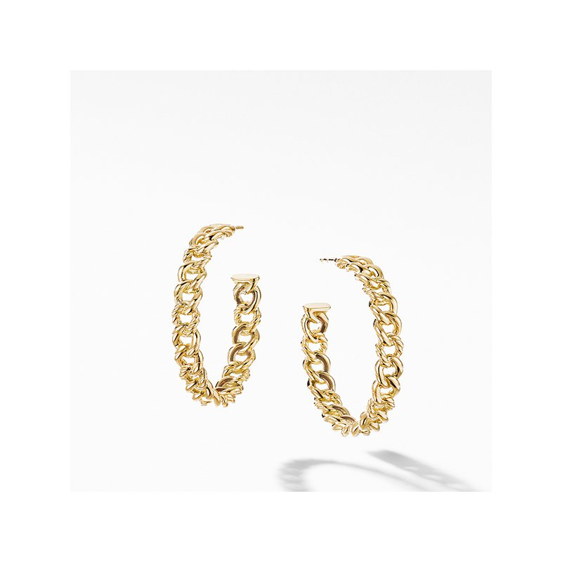 David Yurman Belmont Curb Link Medium Hoop Earrings in 18K Yellow Gold