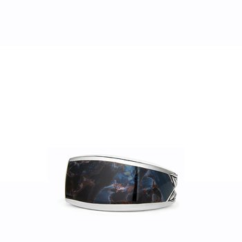 Exotic Stone Narrow Three-Sided Ring with Pietersite