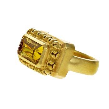 Bezel Set Solid Citrine Ring