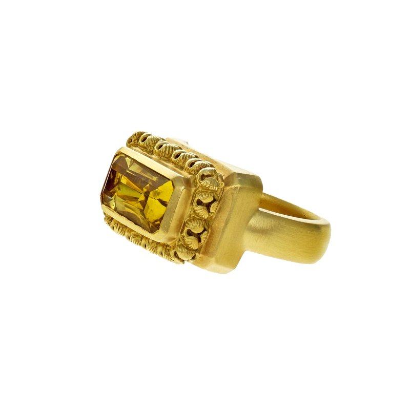 Estate Radcliffe Bezel Set Solid Citrine Ring