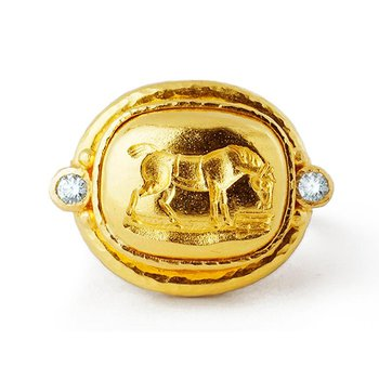 "Gold ""Grazing Horse"" Ring with Diamonds"