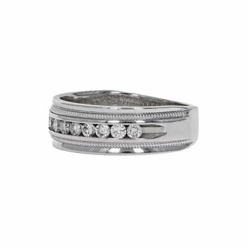 Beaded Trim Diamond Band