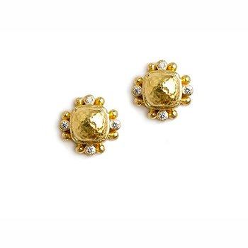 Gold and Diamond Cushion Stud Earrings