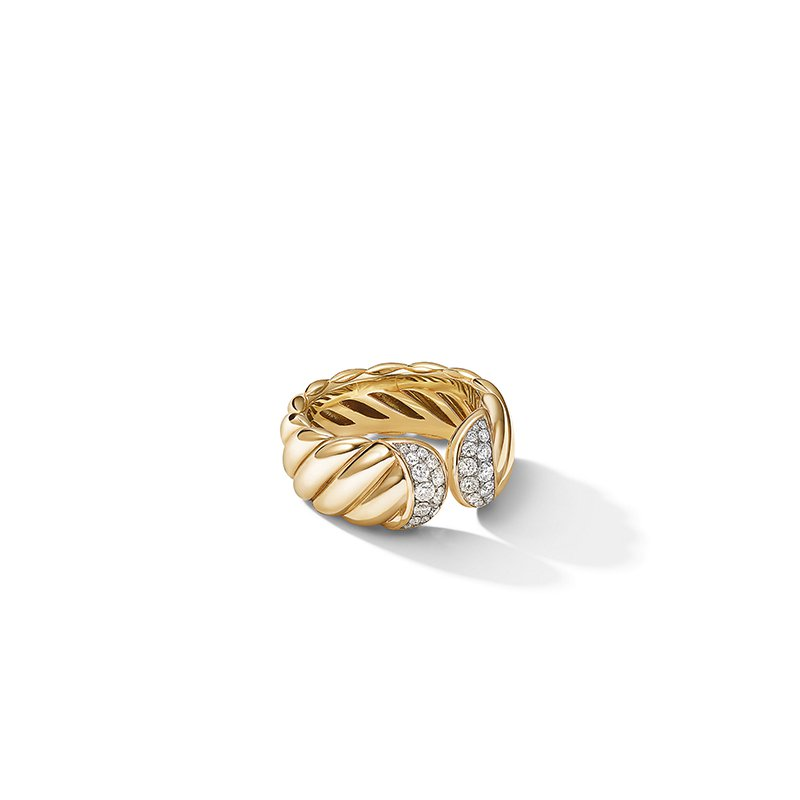 David Yurman Sculpted Cable Ring in 18K Yellow Gold with Pave Diamonds