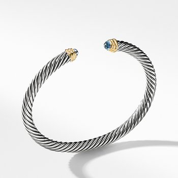 Cable Classics Collection Bracelet with Blue Topaz and 14K Gold