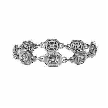 Octagon Link Diamond Bracelet