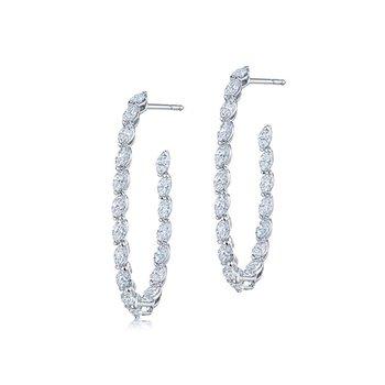 Marquise Diamond Hoop Earrings