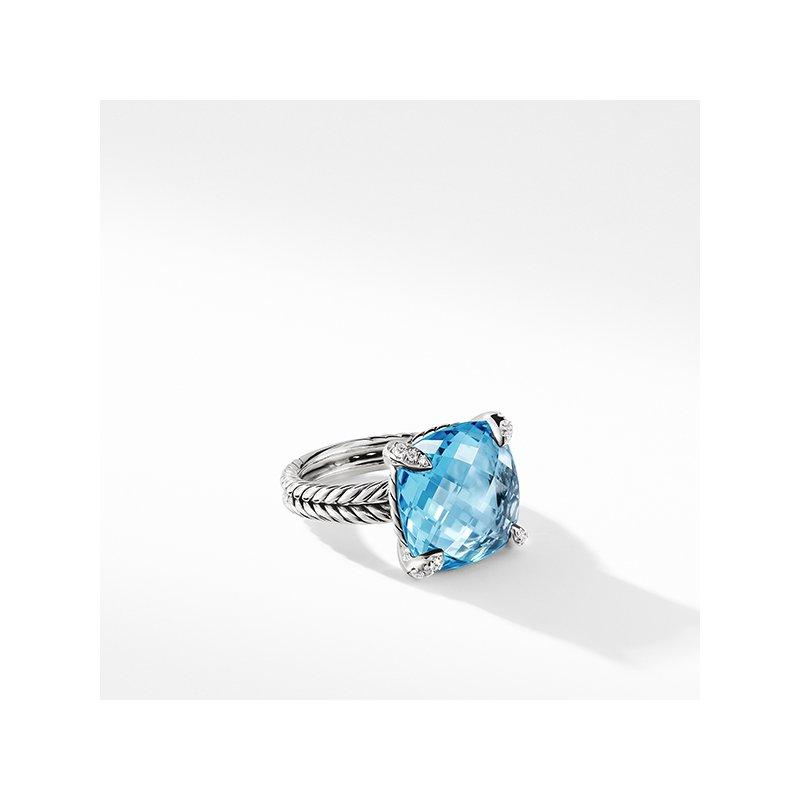 David Yurman Chatelaine Ring with Blue Topaz Diamonds, 14mm