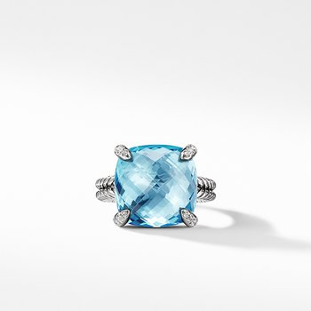 Chatelaine Ring with Blue Topaz Diamonds, 14mm