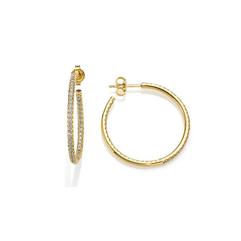 Roberto Coin Inside-Out Pave Diamond Hoop Earrings