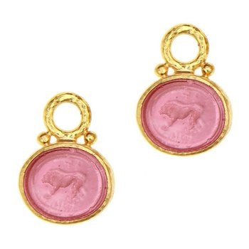 """Pink """"Stalking Lion"""" Earring Charms"""