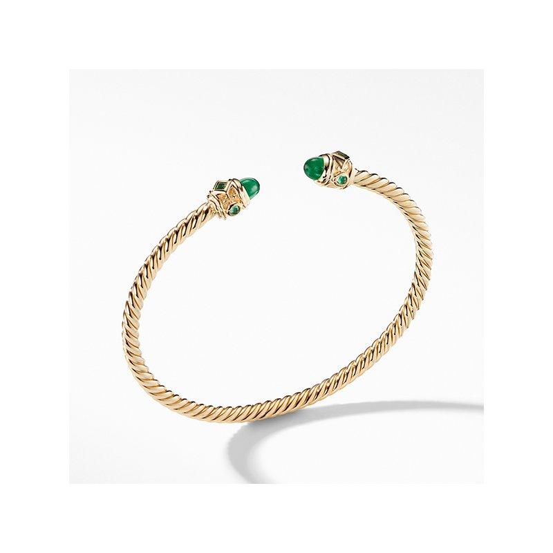 David Yurman Renaissance Bracelet with Emeralds in 18K Gold, 3.5mm