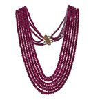 Estate Radcliffe Six Strand Natural Ruby Necklace
