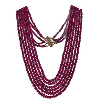 Six Strand Natural Ruby Necklace