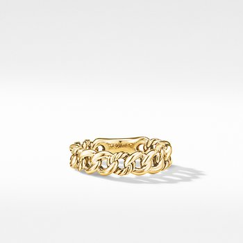 Belmont Curb Link Narrow Ring in 18K Yellow Gold