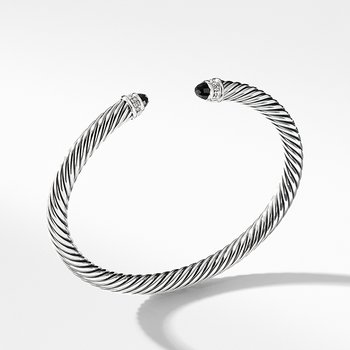 Cable Classics Collection Bracelet with Black Onyx and Diamonds