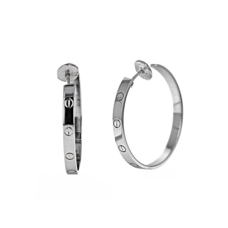 Estate Cartier Love Hoop Earrings