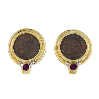 Roman Coin Replica Earrings