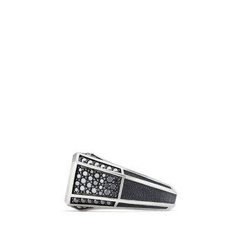 Streamline Pave Signet Ring with Black Diamonds