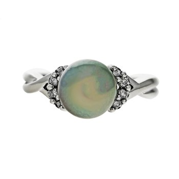 Gray Pearl & Diamond Ring