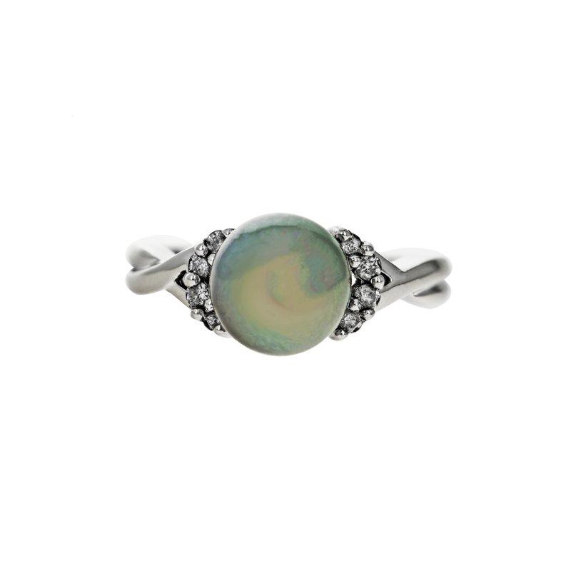 Estate Radcliffe Gray Pearl & Diamond Ring