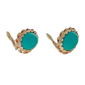 Turquoise Cabochon Clip-On Earrings